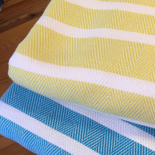 2 Turkish towels, yellow & blue stripes